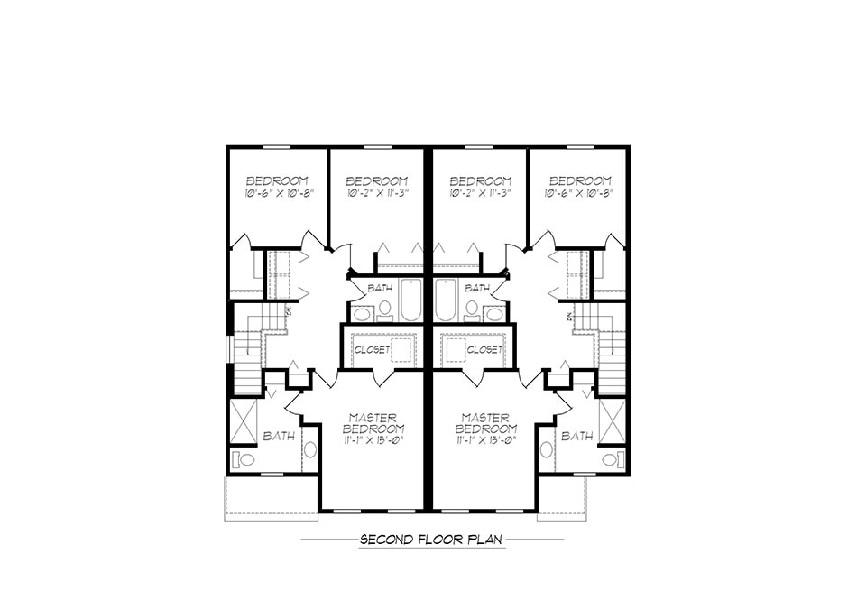 22′ A-Unit Second Floor Plan