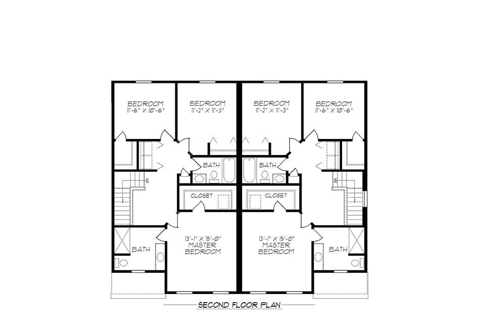 24′ A-Unit Second Floor Plan