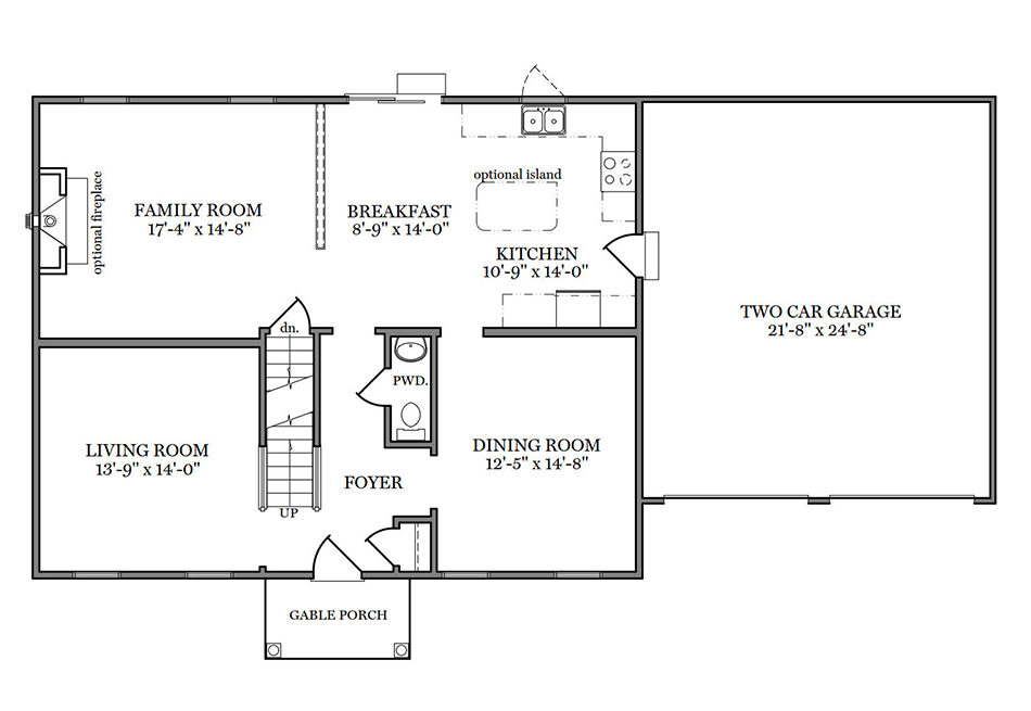 Briarwood 38′ First Floor Plan
