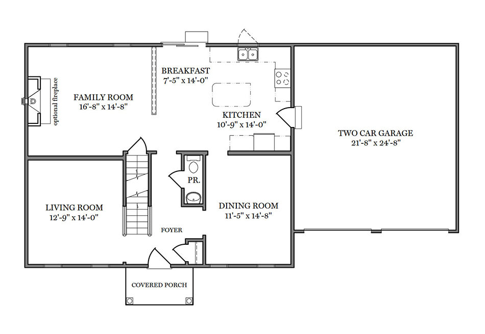 Briarwood 36′ First Floor Plan