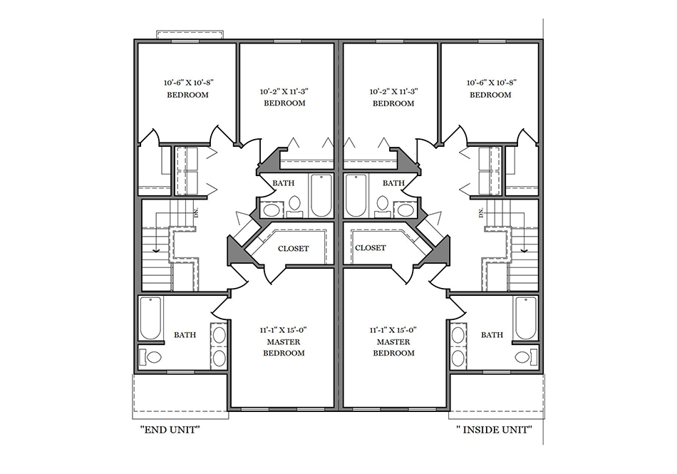 22′ A-Unit Second Floor Plan