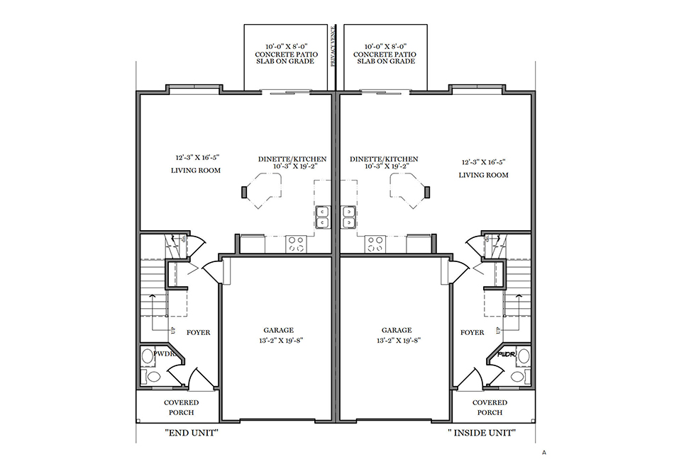 24′ A-Unit First Floor Plan