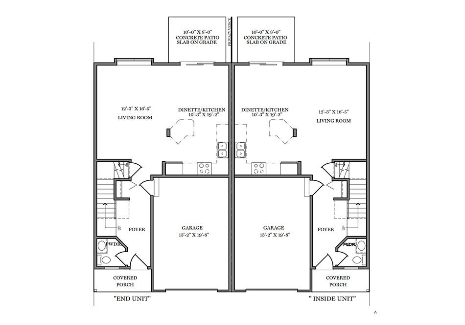 24′ A-Unit First Floor Plan
