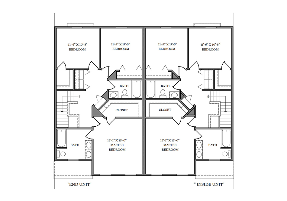 24′ A-Unit Second Floor Plan