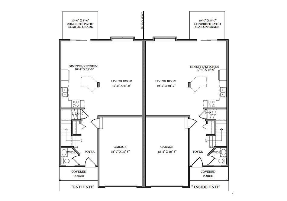 24′ B-Unit First Floor Plan