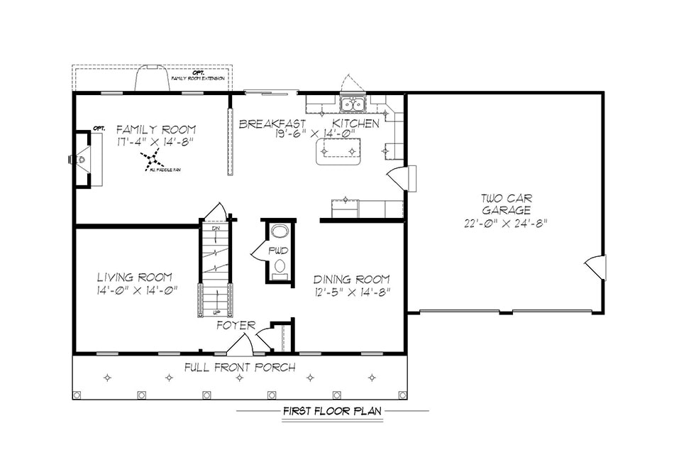 Briarwood 38′ First Floor Plan