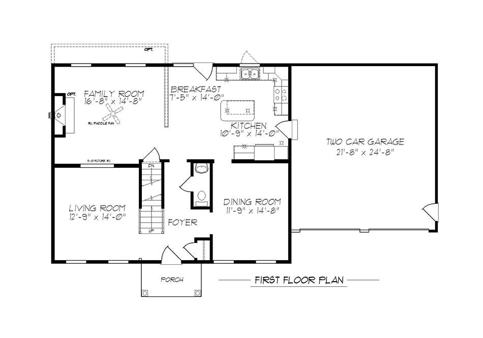 Briarwood 36′ First Floor Plan